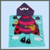 100% Cotton Velour Reactive Printed kids beach towel with hood