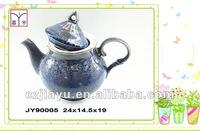 Purple point and black tea pot