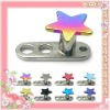 Plated rainbow star titanium steel hot selling micro dermal body jewelry