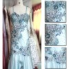 wedding dresses lace embroidered fabric rhinestone dress(MWHS-007)