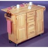 Big storage pine wood kitchen cart