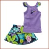 Purple Little Girls Cotton Two Pieces Skirt Set