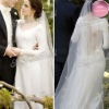 Jewel A-line Floor length ruffle natural waist satin long sleeve muslim wedding gowns dress 2012