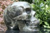 Natural Obsidian Perfect Long Clear Quartz Rock Crystal Carving Alien Skull