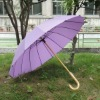 Purple Wooden Straight Umbrella With J Handle