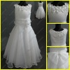 Pretty Scoop Neck White Organza Sleeveless Flower Girl Dress Wholesale With Flowers FR-001