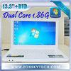 13.3inch China oem airbook laptop window 7 1GB RAM/160GB intel dual core 1.86GHz bulit in DVD burner