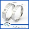 New Style Stainless Steel Crystal Couple Rings Set For Engagement