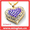 Crystal bling usb heart mini