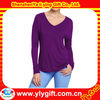 Women Long Sleeves Drop Shoulder V Neck Tops