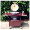 Outdoor round ceramic kamado bbq smoker with table cart