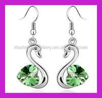 cute animal crystal goose earrings six color for your reference