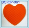 Eco-friend silicone cup mat wit heart shape cup pad