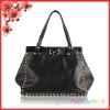 2012 New Fashion Lady bags with Rivet and kiss lock Woman Black Real Leather Plain Shoulder Bag