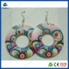 Colorful round with flower printing wooden earrings