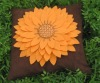 hand-made sunflower design of applique embroidery cushion cover
