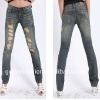 Latest Women Design Denim Skinny Blue Jeans with 10 Top