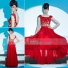 Coniefox Top Rose Red Applique Beading Elegant Bride Dress 81322