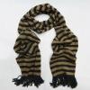 tassel fringe horizontal stripe knit scarf