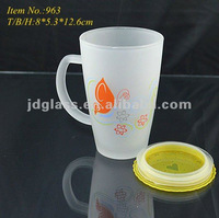 hot sell frosted & printed glass mug with lid