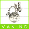 Engravable Pocket Watches Seahorse Silver with Chain