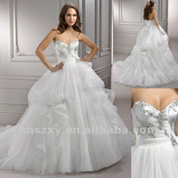 2012 Latest New Arrival Strapless Ball Gown Beaded Gorgeous Wedding Dresses