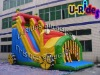 Car shape inflatable slide double line slide