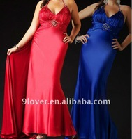 2012 beaded halter strap empire waist evening dress