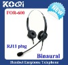 Binaural corded telephone headset with RJ11 plug FOR600B