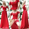 BE157 Newest spaghetti strap with cap sleeves beaded chiffon floor length evening dress 2012/prom dresses