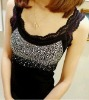2012 newest women lace tank tops rhinestone vest tops