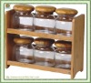 6pcs glass jars with bamboo canister rack