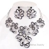 Fashion Alloy Rhinestone Necklace Earring Jewelry Sets