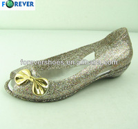 Stylish PVC injection low heel crystal wedding shoes for ladyr
