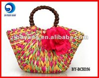 fashionable colored ladies' straw beach bag BY-BCH356