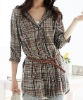 New Women/Lady Dress Grid Long Blouse Apparel Cloth(Paypal!)grid t shirts