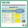 22x17in/11x17inch standard 12 sheets Desk and Wall calendar 2013