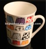 High quality bone porcelain cup with unique decal