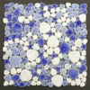 POP007 heart shaped art pattern tile porcelain pebble tile mix color milk white blue porcelain pebble tile