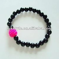 Jewelry Silicon Rubber one Spiky ball and pearl bead bracelet