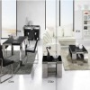 glass and stainless steel modern cafe furniture