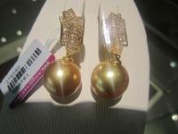 large 9-10mm baroque pearl earrings, 925 silver