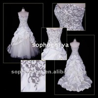 Hotsale Charming Strapless A-line Beaded Embroidered Taffeta Real Wedding Gown