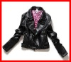 fashion women pu leather jackets, black plain jackets