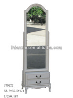 Antique wooden framed white color standing mirror