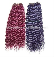 Colorful curly brazilian hair weave