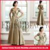 Floor-length A-line taffeta pleats V-neckline mother of the bride dresses