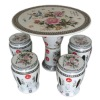 Ceramic garden stool an table with hibiscus flowers pattern