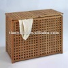 wooden storage organisation,bathroom double laundry box with cotton bags,oiled