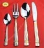 Mirror polish with gold hotel stainless steel dinnerware